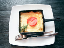 Fried Eggs On Pan Stock Images