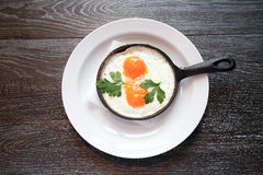 Fried Eggs On Pan Royalty Free Stock Photo