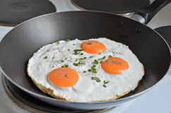Fried Eggs in a Pan Stock Image