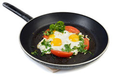 Fried eggs on pan Royalty Free Stock Photography