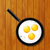 Fried eggs in pan Royalty Free Stock Image