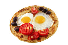 Fried eggs on pancake Royalty Free Stock Photo