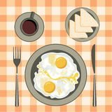 Fried eggs in a plate, coffee and bread Stock Photos