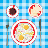 Fried eggs in a plate, coffee and bread Royalty Free Stock Photography