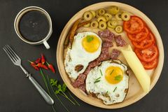 Fried Eggs on a plate. A hearty breakfast for athletes. Healthy food. Royalty Free Stock Photo