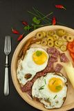 Fried Eggs on a plate. A hearty breakfast for athletes. Healthy food. Stock Photo
