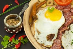 Fried Eggs on a plate. A hearty breakfast for athletes. Healthy food. Royalty Free Stock Photography