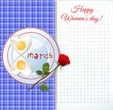 Fried eggs on plate with ketchup letters 8 march and notepad she. Happy women`s day greeting card with number eight shaped fried eggs on plate with ketchup royalty free illustration