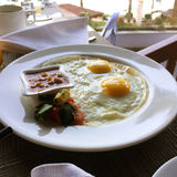 Fried eggs on a plate Royalty Free Stock Photo