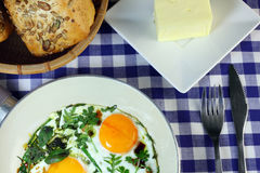 Fried eggs - a quick breakfast Stock Photography