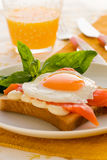 Fried eggs with salmon Royalty Free Stock Images