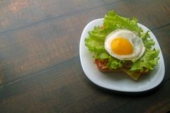 Fried eggs sandwich with bacon and cheese royalty free stock photos