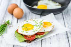 Fried Eggs on a Sandwich Royalty Free Stock Photography