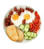 Fried eggs with sausage Royalty Free Stock Images