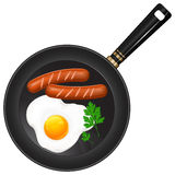 Fried eggs and sausage Royalty Free Stock Images
