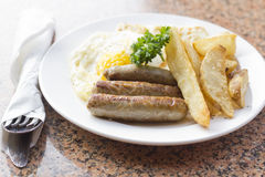 Fried Eggs Sausage Home Fries Stock Image