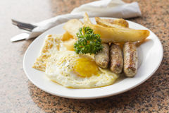 Fried Eggs Sausage Home Fries Royalty Free Stock Images