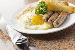 Fried Eggs Sausage Home Fries Royalty Free Stock Photos