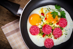 Fried eggs with sausage in pan Stock Photos