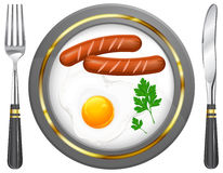 Fried eggs and sausage on plate. Food ingredients, vector illustration Stock Image