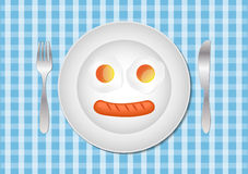 Fried eggs and sausage on plate, food ingredients, vector illust Royalty Free Stock Images