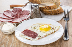 Fried eggs with sausage in plate, pieces of bread, mayonnaise Stock Images