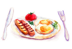 Fried eggs with sausages Royalty Free Stock Photography