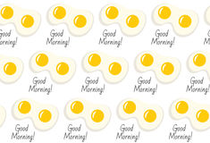 Fried eggs seamless pattern with inscription Good morning. Fried eggs, breakfast background. Fried eggs seamless texture. Vector i Royalty Free Stock Image