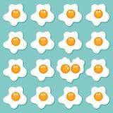 Fried eggs set background Stock Photo