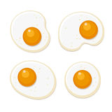 Fried Eggs Set. Flat Style on White Background. Vector Royalty Free Stock Image