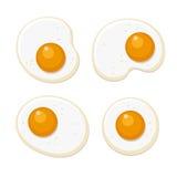 Fried Eggs Set Style plat sur le fond blanc Vecteur illustration libre de droits