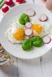 Fried eggs shape hearts Valentines dish Stock Photo