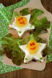 Fried eggs shaped as stars with funny faces. On salad leaves. Breakfast for kids Stock Photo