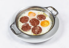 Fried eggs on the skillet Stock Photography