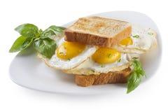 Fried Eggs smörgås Arkivbild