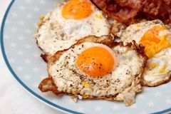 Fried eggs. Some fried eggs with sausage and bread Stock Photo
