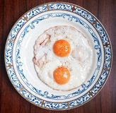 Fried eggs. Sunday healthy breakfast Royalty Free Stock Photos