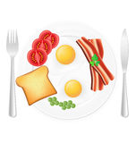 Fried eggs with toast bacon and vegetables on a plate vector ill Royalty Free Stock Photography