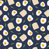 Fried egg, toast bread and rocket salad rucola seamless pattern. Vector hand drawn illustration. Fried eggs, toast bread and arugula rucola, rocket salad stock illustration