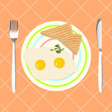 Fried eggs with toasts for breakfast, vector illustration. Fried eggs with toasts on a plate. Breakfast in retro style. Vector illustration for your design Stock Images