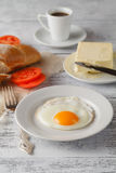 Fried eggs with toasts Royalty Free Stock Photo