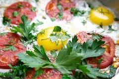Fried Eggs With Tomatoes Stockbilder