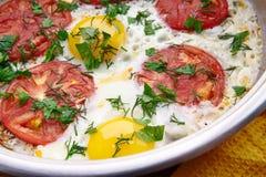 Fried Eggs With Tomatoes Lizenzfreie Stockbilder