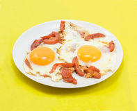 Fried eggs with tomatos Royalty Free Stock Image