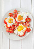 Fried eggs, top view Royalty Free Stock Photography