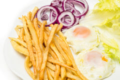 Fried eggs with various vegetables Royalty Free Stock Photos