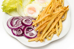 Fried eggs with various vegetables Stock Photos