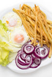 Fried eggs with various vegetables Stock Photo
