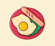 Fried eggs. Vector illustration. Flat. stock illustration