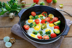 Fried eggs with vegetable mix Stock Image